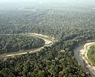 Vista aérea da Resex Chico Mendes, com uma parte do rio Xapuri, na floresta Amaz?nica, Acre, Brasil.