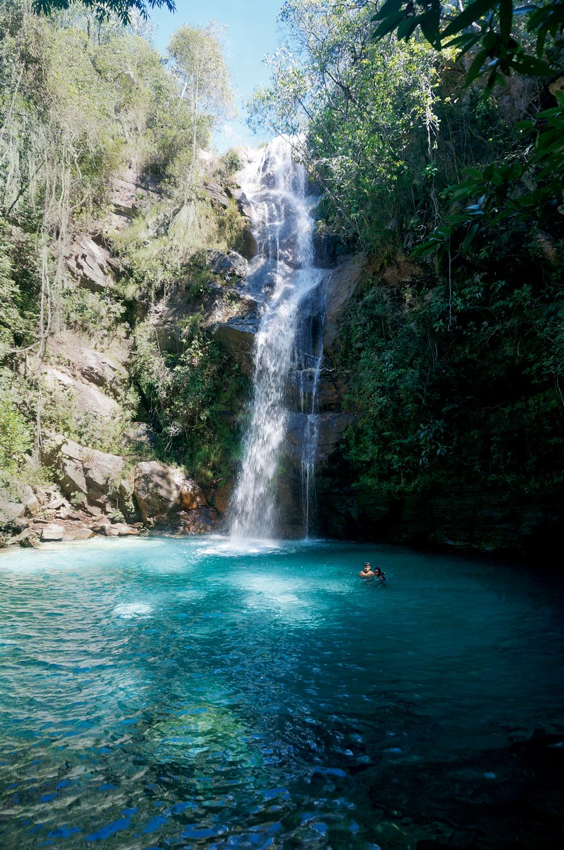 Cerrado: Cachoeira Santa Bárbara, localizada na Comunidade Kalunga na cidade de Cavalcante, em Goiás